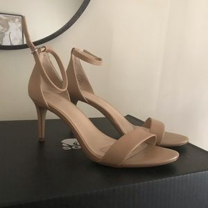 Classic, stylish faux leather nude sandals